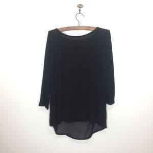 UO Cable & Gauge black jersey shirt open back 0070